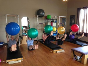 Pilates Shoulder Bridge on the Big Ball