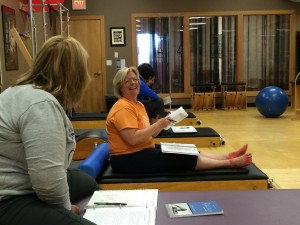 Shelley and Nancy at a recent Mat Instructor Training Class at Rivercity Pilates.